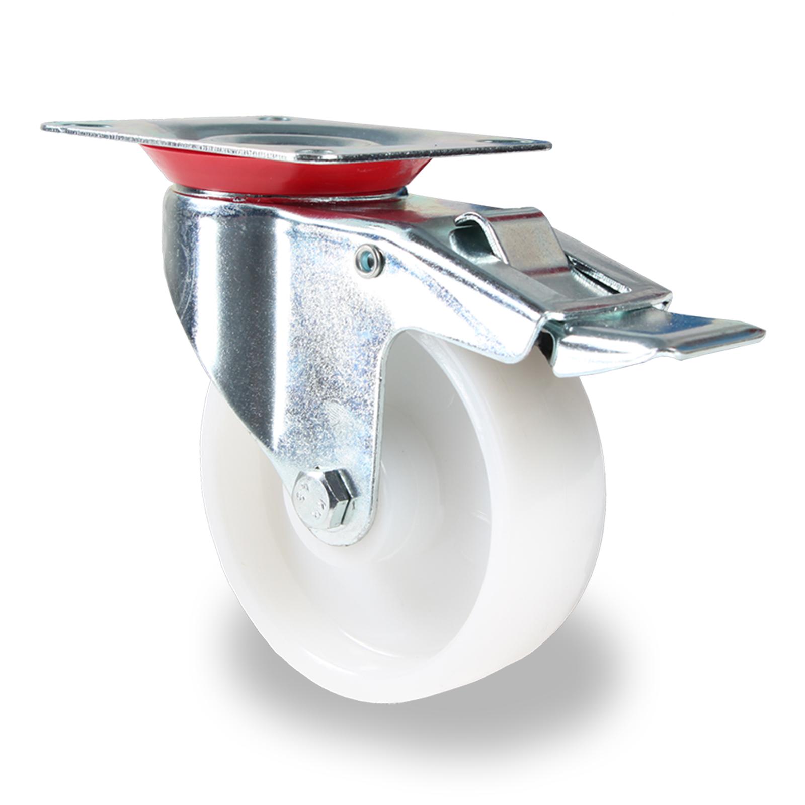 transportrollen lenkrollen mit bremse kunststoff weiss pp 75 100 125 mm rolle ebay. Black Bedroom Furniture Sets. Home Design Ideas