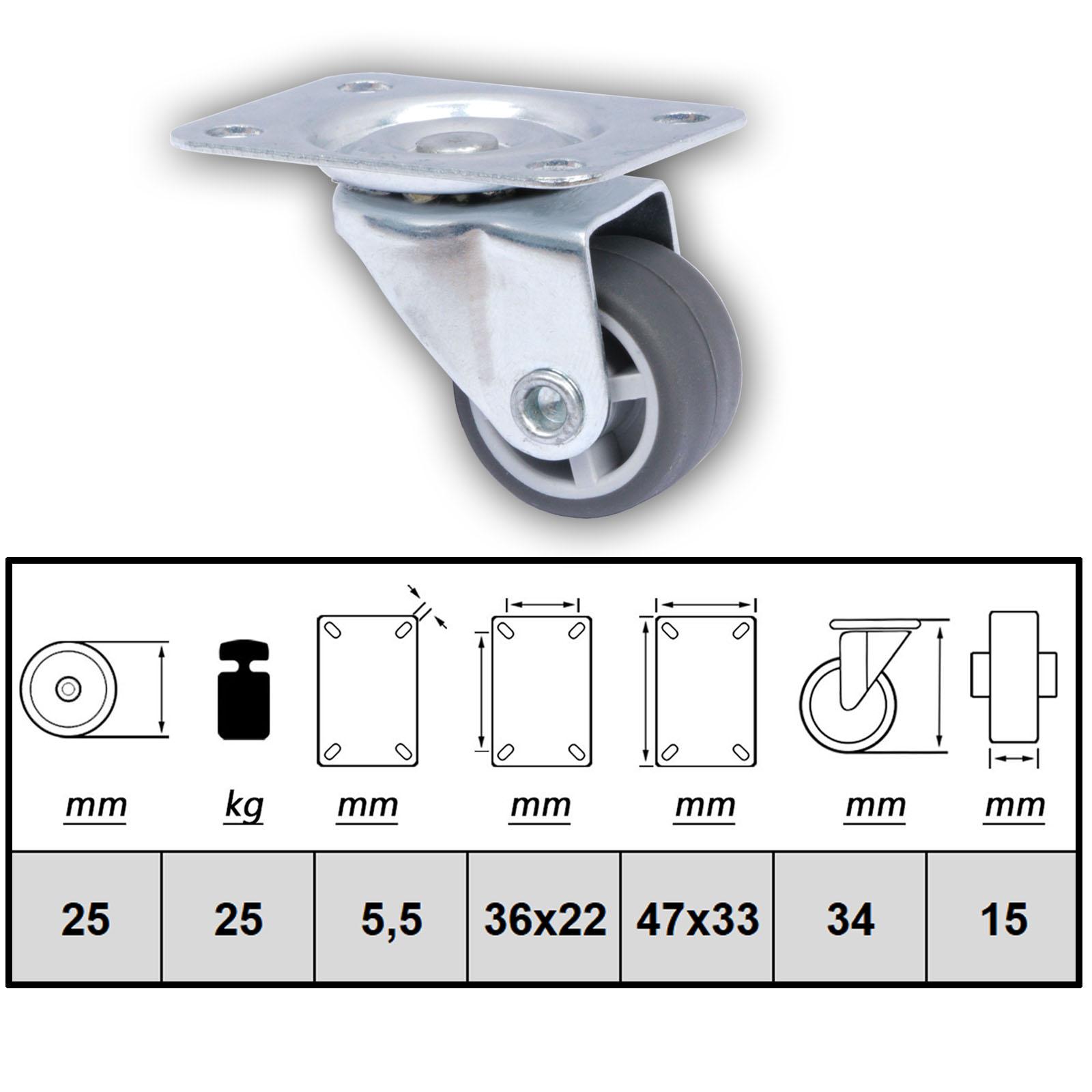 Minirolle 4 Stück Möbel-Rollen 25mm Transportrollen Lenkrollen Möbelrolle