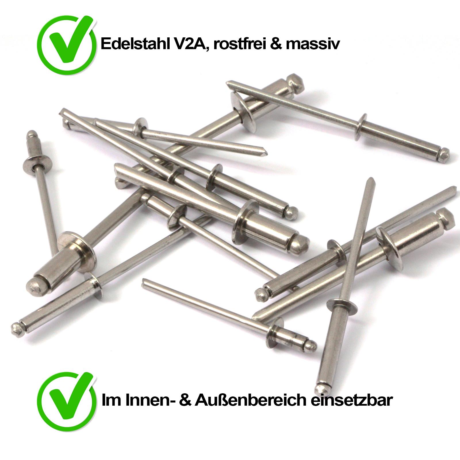 10 St/ück ISO 15983 rostfrei - mit Flachkopf Niet Popnieten DIN 7337 Edelstahl A2 V2A Eisenwaren2000 4,8 x 25 mm Blindniet