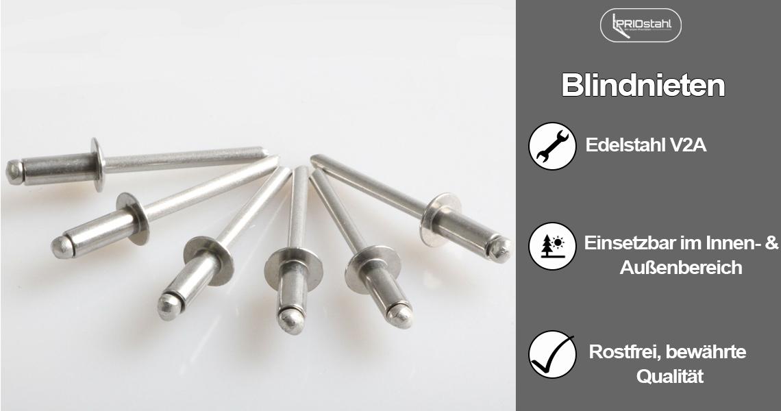 Blindnieten mit Flachkopf Popnieten V2A SC-Normteile Edelstahl A2 100 St/ück - DIN 7337 Form A - SC7337 4x18 mm -