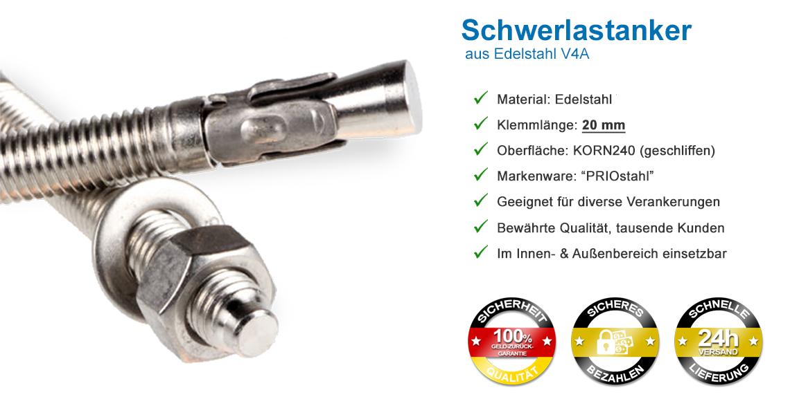 PRIOstahl/® Ankerbolzen aus rostfreiem Edelstahl V2A Ankerschraube Schwerlastanker Bolzend/übel M16 x 170 mm, 25 St/ück