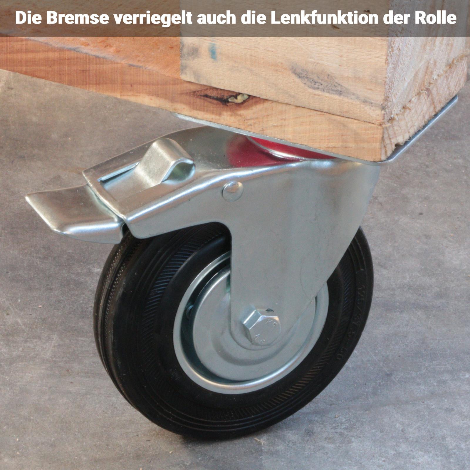 Transportrollen Set Schwerlastrollen Lenkrolle Bremse Laufrolle Totalfeststeller
